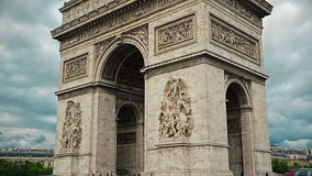 Paris Arch of Triomphe paning stock footage