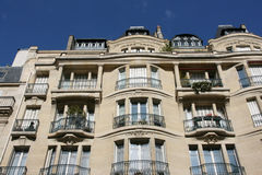 Paris architecture. Typical street view in Paris, France. Old residential architecture Stock Photos