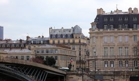 Paris architecture balconies windows and details in French city architectural art in Europe. Sculptures and architect artists Royalty Free Stock Photography