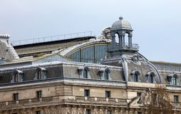 Paris architecture balconies windows and details in French city architectural art in Europe. Sculptures and architect artists Royalty Free Stock Images