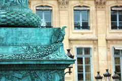 Paris architecture balconies windows and details in French city architectural art in Europe. Sculptures and architect artists Royalty Free Stock Image