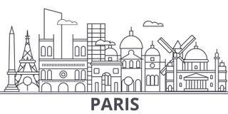 Paris architecture line skyline illustration. Linear vector cityscape with famous landmarks, city sights, design icons. Editable strokes vector illustration