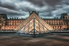 Paris architecture at sunset royalty free stock photos