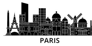 Paris architecture vector city skyline, travel cityscape with landmarks, buildings, isolated sights on background stock illustration