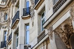 Paris architecture with very sharp structure. Beautiful building with very sharp structure in the area of Champs - Elysees Stock Photos