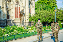 Paris Armed Forces. PARIS, FRANCE - JULY 1, 2017: France National Armed Forces in Notre Dame of Paris, keeping security of visitor tourists, after recent Royalty Free Stock Photos
