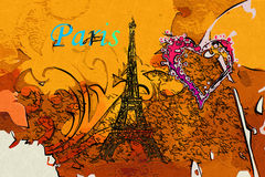 Paris art design illustration Royalty Free Stock Image
