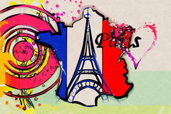 Paris art design illustration Royalty Free Stock Photo