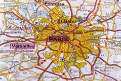 Paris auf der Karte Stockbild