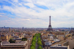 Paris France in August. The Eiffel Tower above Paris in August royalty free stock photos