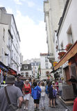 Paris,august 19,2013-Ancient street in Montmartre in Paris Stock Photos