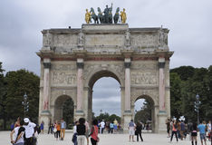 Paris,august 18,2013-Arc de Triomphe du Carrousel in Paris royalty free stock photography