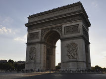 Paris,august 14,2013-Arc de Triomphe in the dusk of light Royalty Free Stock Images