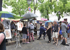 Paris,august 19,2013-Art Market Place du Tertre in Montmartre in Paris Royalty Free Stock Photography