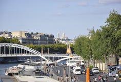Paris august bro 19,2013-Seine i Paris Fotografering för Bildbyråer