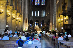 PARIS AUGUST 15:Interior of the Cathedral of Notre-Dame in Paris, France on August 15, 2012. Royalty Free Stock Photos