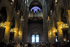 PARIS AUGUST 15:Interior of the Cathedral of Notre-Dame in Paris, France on August 15, 2012. Stock Photography