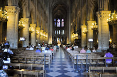 PARIS AUGUST 15:Interior of the Cathedral of Notre-Dame in Paris, France on August 15, 2012. Royalty Free Stock Photo