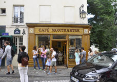 Paris,august 19,2013-Landmark Cafe Montmartre in Montmartre of Paris stock images