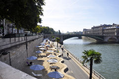 Paris,august 15,2013-Quays of the Seine River in Paris Royalty Free Stock Photos