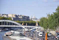 Paris,august 19,2013-Seine Bridge in Paris Royalty Free Stock Images
