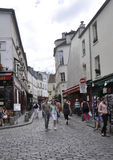 Paris,august 19,2013-Street in Montmartre in Paris Stock Photography