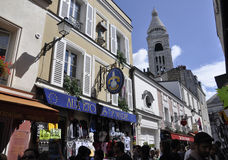 Paris,august 19,2013-Street in Montmartre in Paris Royalty Free Stock Images