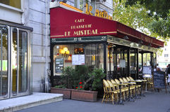 Paris,august 15,2013- Terrace Cafe Le Mistral in Paris royalty free stock photos