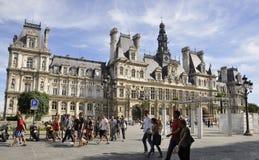 Paris Augusti 17,2013-Hotel de Ville i Paris Arkivfoton