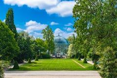 Paris, the Auteuil greenhouses. Beautiful public garden in spring stock photo