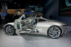 Paris Auto Show, Jaguar Electric Racing Car. Paris, France, Paris Car Show, Jaguar Electric Racing Car, XJL Stock Image