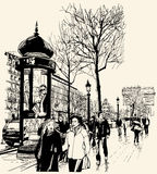 Paris - avenue des champs-elysees. Vector illustration - Paris - avenue des champs-elysees Stock Photography