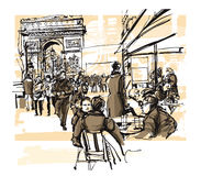 Paris - avenue des champs-elysees. Vector illustration Royalty Free Stock Photo