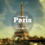 Paris background. Paris is always a good idea. Poster Paris typography Royalty Free Stock Image
