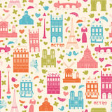 Paris background. Pattern. Love Paris, doodles symbols of Paris. Endless pattern. Can be used for wallpaper, pattern fills, web page background, surface textures