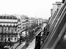 Paris balcony in winter. View from a Paris balcony in winter, black and white stock photos