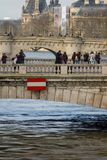 Paris, The banks of the Seine are flooded, the Seine is 6 meters above the level. Stock Photos