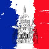Paris basilica illustration. Vector french architecture landmark illustration. Paris basilica on the painted France flag background Stock Photos