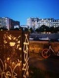Paris bastille at night art is everywhere stock image