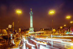 Paris. Bastille square, Paris. Light trails of cars Royalty Free Stock Photo