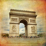 Paris. Beautiful view of the Arc de Triomphe in Paris in vintage style, France Stock Photo