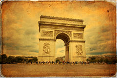 Paris. Beautiful view of the Arc de Triomphe in Paris in vintage style, France Royalty Free Stock Photography