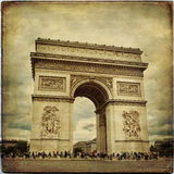Paris. Beautiful view of the Arc de Triomphe in Paris in vintage style, France Stock Image