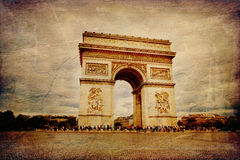 Paris. Beautiful view of the Arc de Triomphe in Paris in vintage style, France Royalty Free Stock Image