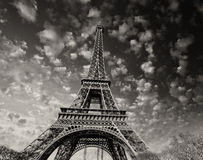 Paris. Beautiful view of Eiffel Tower with sky sunset colors Royalty Free Stock Photo
