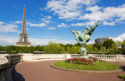 Paris. The beautiful view of the Eiffel Tower on a summer day Royalty Free Stock Image
