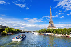 Paris. The beautiful view of the Eiffel Tower on a summer day Stock Images