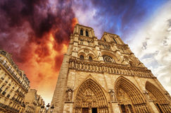 Paris. Beautiful view of Notre Dame Cathedral Royalty Free Stock Photography