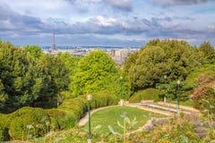 Paris from Belleville. View of Paris cityscape with Eiffel Tower from park Belleville in east Paris Stock Photos