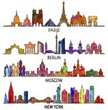 Paris, Berlin, Moscou et New York, conception triangulaire illustration stock
